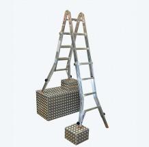 Шарнирная лестница-трансформер с удлинителями боковин